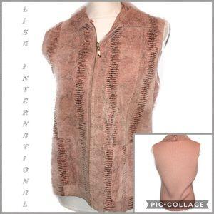 Lisa International Mauve Suede/Cotton Knit Vest M